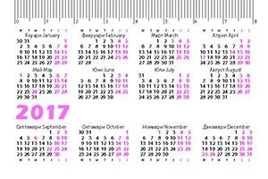 Джобни календарчета 2017