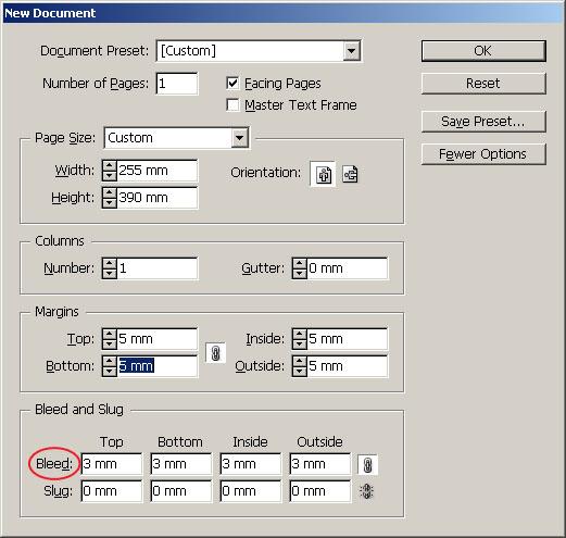 Определете наддаването (bleed) на документа. Допустимият минимум е 3 mm.